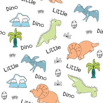 Gezeichnetes nahtloses muster der kleinen dinosaurier hand
