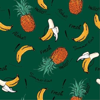 Gezeichnetes nahtloses muster der skizze der ananas und der banane hand