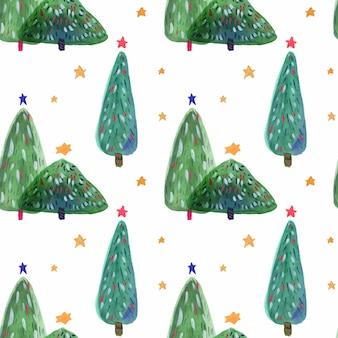 Gezeichnetes nahtloses muster des aquarells des weihnachtsbaums hand