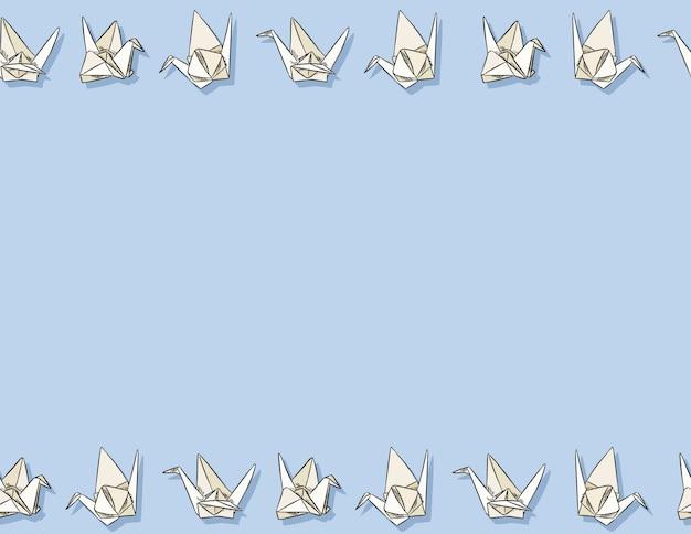 Gezeichnetes nahtloses muster des origamipapierschwans hand in den pastellfarben.