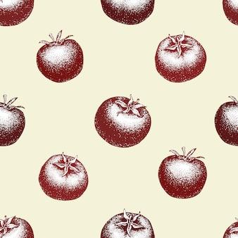 Gezeichnetes nahtloses muster des vektors der tomate hand. weinlese-gemüse gravierte arthintergrund. kann für menü, etikett, verpackung, hofmarkt verwendet werden