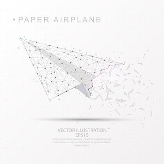 Gezeichnetes niedriges polydrahtrahmen der papierflugzeugform digital