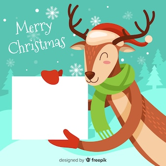 Gezeichnetes ren des weihnachtshintergrundes hand