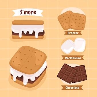 Gezeichnetes s'mores dessert illustriert