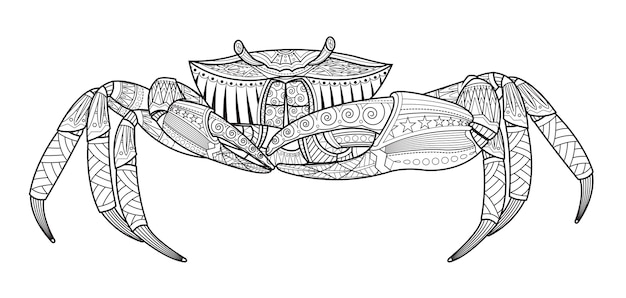 Gezeichnetes seetier der krabbe hand