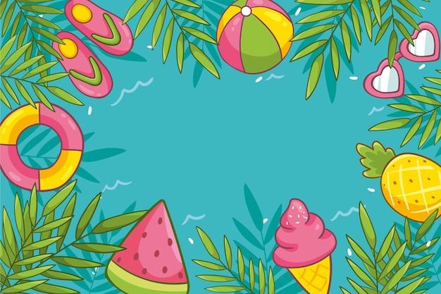 Gezeichnetes sommerhintergrundkonzept