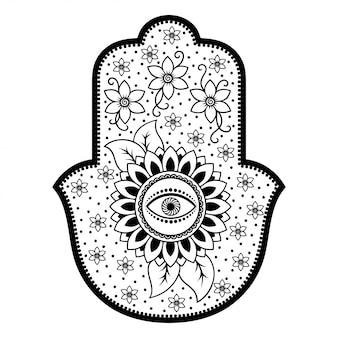 Gezeichnetes symbol hamsa hand mit blume.