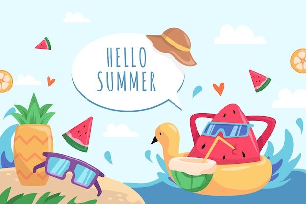 Gezeichnetes thema des sommerhintergrunds