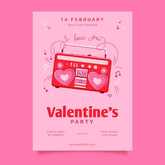 Gezeichnetes valentinstag-partyplakat