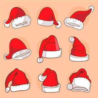Gezeichnetes weihnachtsmützen-set