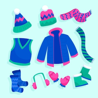 Gezeichnetes winterkleidungsset