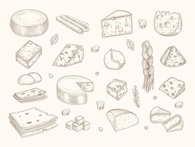Gezogener käse. gouda parmesan mozzarella köstliche gourmet-milch bio geschnittene produkte vektor-illustration. mozzarella und parmesan, die doodle-essen zeichnen