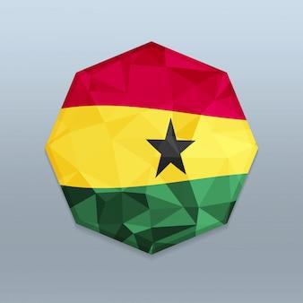 Ghana flag mit octagone design vektor
