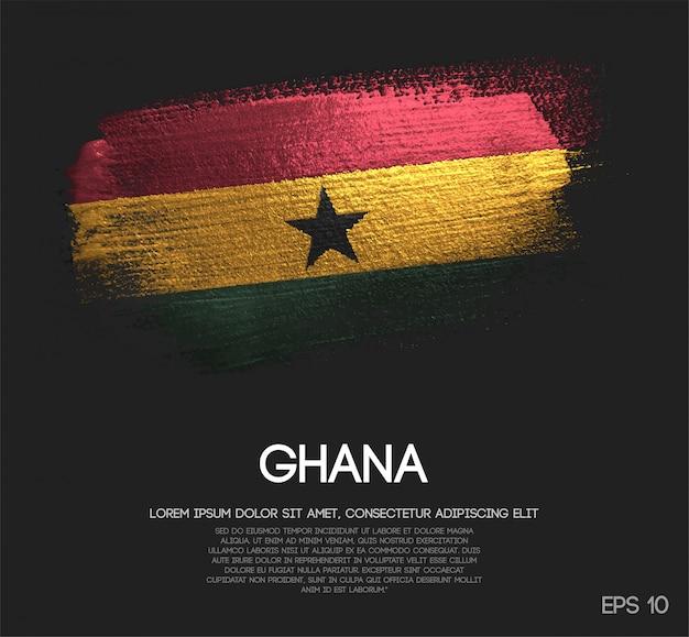 Ghana flagge aus glitter sparkle pinsel farbe