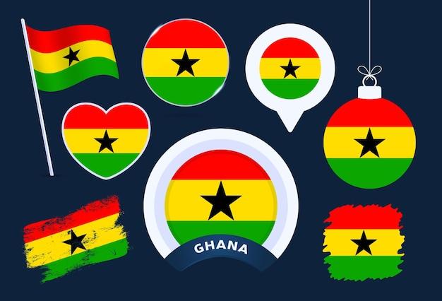 Ghana-flaggenvektorsammlung. große auswahl an designelementen der nationalflagge in verschiedenen formen für öffentliche und nationale feiertage im flachen stil.