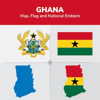 Ghana karte, flagge und national emblem
