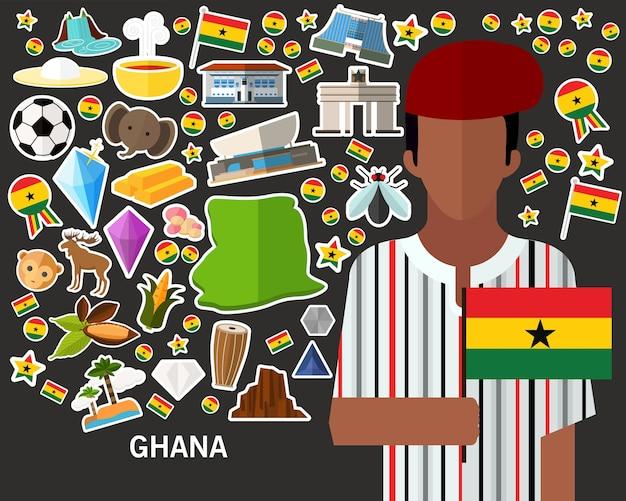 Ghana-konzepthintergrund flache ikonen
