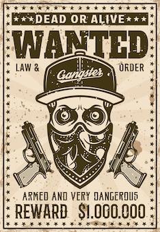 Ghetto-gangster-schädel in baseball-mütze und bandana auf gesicht wollte poster im vintage-stil-vektor-illustration. überlagerte, separate grunge-textur und text