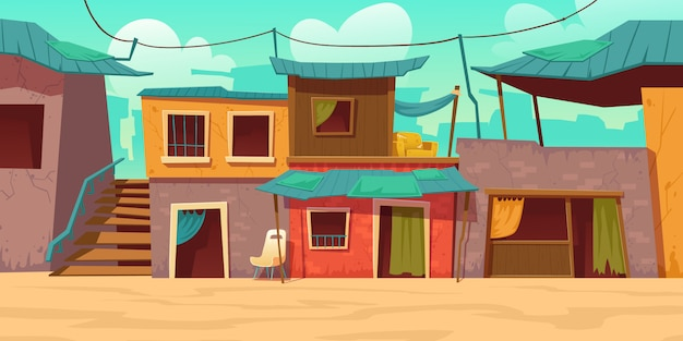 Ghettostraße mit armen schmutzigen häusern, hütten
