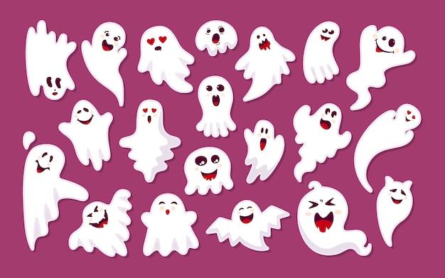 Ghost farbige aufkleber cartoon-set. nettes gruseliges aufklebermonster der halloween-sammlung