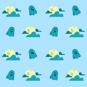 Ghost fliegt zwischen den wolken auf nahtlosem halloween-muster