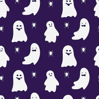 Ghost nahtloses muster. entwerfen sie grenzenlosen hintergrund von gruseligen lustigen niedlichen geisterhaften halloween-monstern. ornament für papierumhüllung, stoff, druck
