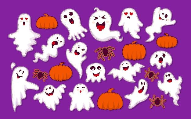 Ghost, pumpkin, spider patch cartoon set. niedliche gruselige geisterhafte monster der halloween-sammlung