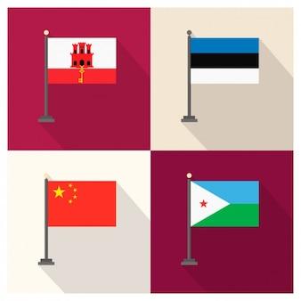 Gibraltar Estland Volksrepublik China und Dschibuti Flaggen