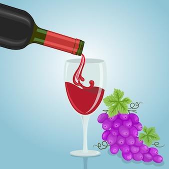 Gießen sie rotwein aus der flasche in das glas.