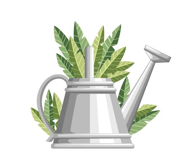 Gießkanne für gartengeräte. metallblumendose mit grünen blättern. stil der landwirtschaftlichen ausrüstung. illustration auf weißem hintergrund