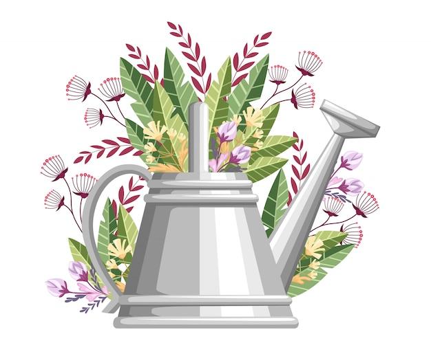 Gießkanne für gartengeräte. metallblumendose mit grünen blättern und blüten. stil der landwirtschaftlichen ausrüstung. illustration auf weißem hintergrund