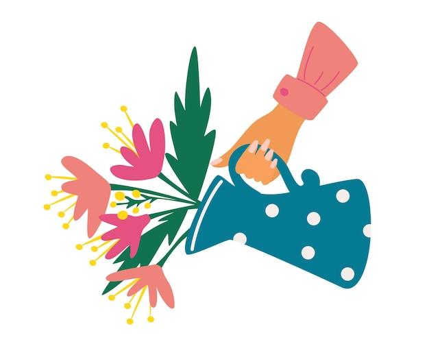 Gießkanne mit blumenstrauß. hand, die eine gießkanne mit blumen hält. glückliche grußpostkarten zum muttertag. vektorillustration für gruß- und einladungskarten, poster, banner, flyer, tasche