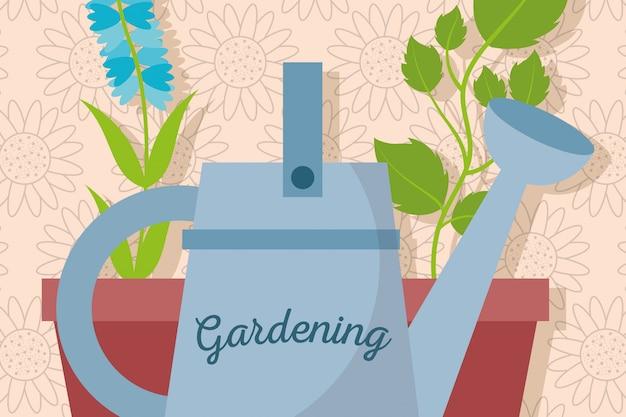 Gießkanne und topfpflanzen im garten natürlich