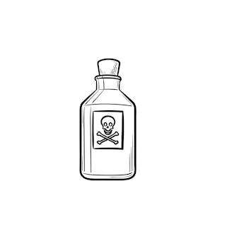 Gift handgezeichnete umriss-doodle-symbol. gefährliche giftflasche giftiges chemisches toxin mit etikett mit gekreuzten knochen
