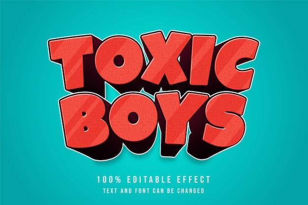 Giftiger junge, bearbeitbarer texteffekt des gelben roten comic-textstils 3d