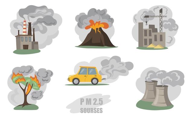 Giftiger rauch gesetzt. dämpfe von fabrikrohren, vulkan, auto in der stadt, im freiennebel von waldbränden lokalisiert auf weiß. flache illustration