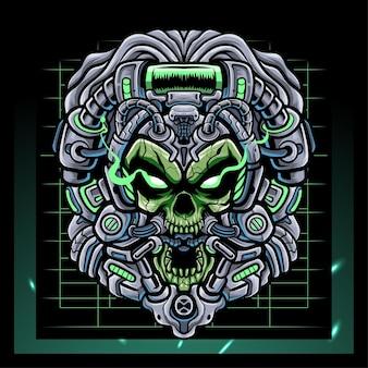 Giftiger schädelkopf mecha roboter maskottchen esport logo design