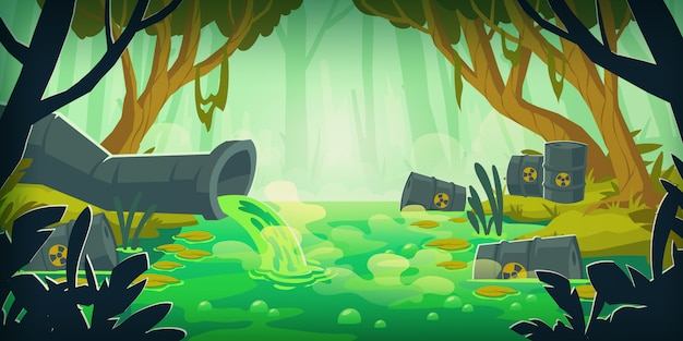 Giftiger sumpf, verschmutzt durch abwasser und müll