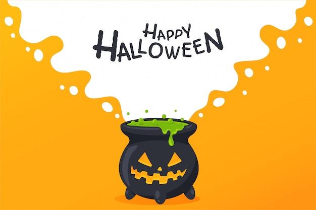 Giftkessel, der ein böses geistergesicht hat zum dekorieren von einladungskarten an halloween.