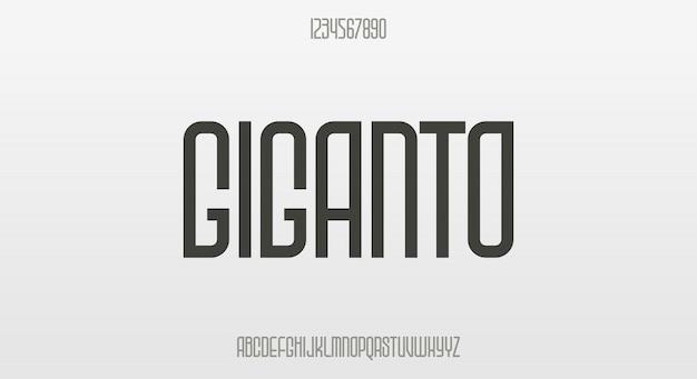 Giganto, eine moderne komprimierte schrift mit runder form und scharfen kanten
