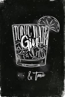 Gin tonic cocktail mit schriftzug auf tafelart