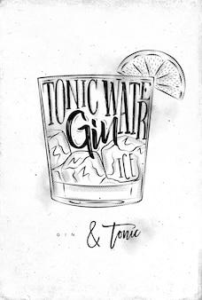 Gin tonic cocktail mit schriftzug