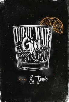 Gin tonic cocktail schriftzug tonic wasser, gin, eis in vintage grafische zeichnung mit kreide und farbe auf tafel hintergrund