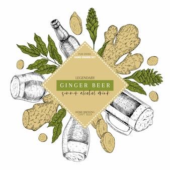Ginger ale bier hand gezeichnetes st- patricktagespubelplakat.