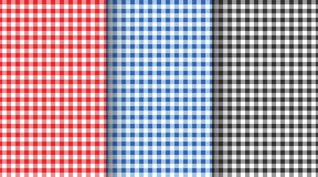 Gingham nahtlose musterset karierte texturen für picknickdecke tischdecke kariert