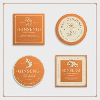 Ginseng glas etikettenkollektion
