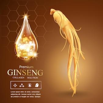 Ginseng kollagenserum und vitamin hintergrundkonzept hautpflege kosmetik
