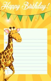 Giraffe auf geburtstagsnotizschablone