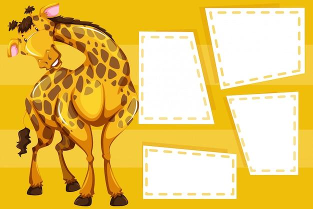 Giraffe auf leeren rahmen für fotohintergrund