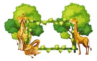 Giraffe auf Naturrahmen